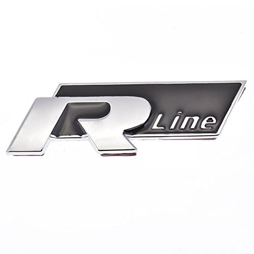 Preisvergleich Produktbild Kbsin212 Auto-Styling Aufkleber Metall Silber R Linie Rline 3D Logo Auto Kühlergrill Abzeichen Seite Kotflügel Aufkleber Auto Heck Stamm Aufkleber Auto Styling Aufkleber