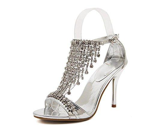 Fein mit weiblichen Sandalen Sommer Sandalen und Pantoffeln Schuhe Stilettsandelholze Frauen Kristall Strass Schuhe Silver