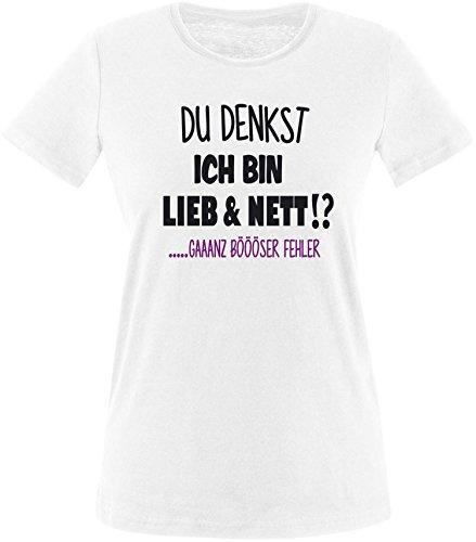 EZYshirt Du denkst ich bin Lieb & Nett...gaaaaanz bööööööser Fehler Damen Rundhals T-Shirt Weiss/Schwarz/Violett