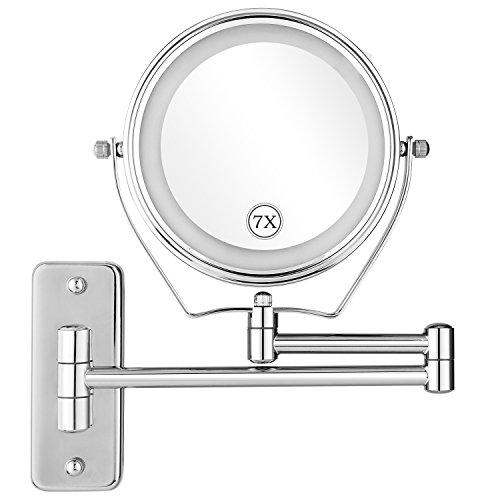 Oliote Espejo de Maquillaje con Luz LED 1X/7X Aumento Espejos de Aumento de Pared de Doble Cara Giratorio...