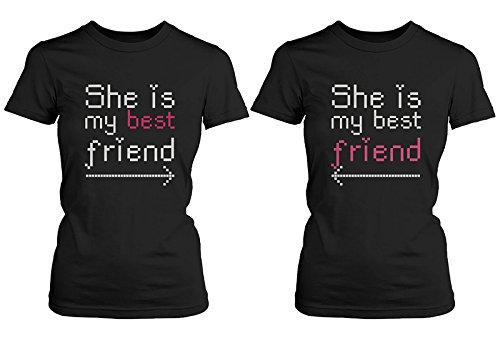 A juego BFF camisas–Ella Es Mi Mejor Amigo Con flechas–regalo para Bff -  negro -  Izquierda- Small / derecho- Medium