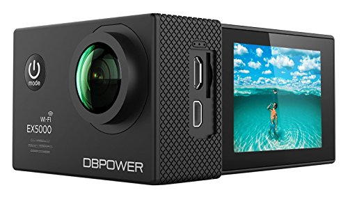 Galleria fotografica DBPOWER® EX5000 Originale Versione WIFI 14MP FHD Sport Action Camera Impermeabile con 2 batterie e kit accessory inclusi (Nero)