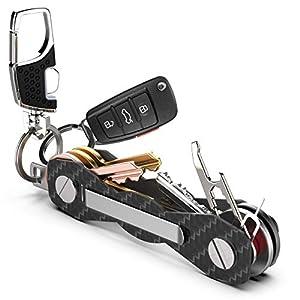Schlüsselorganizer Carbon Kompakt – Premium-Hochleistungs Schlüsselbund-Organizer bis 18 Schlüssel -B0NUS- Schlüsselanhänger mit Schlaufenteil für Gürtel & Autoschlüssel + Mehr (Schwarz)