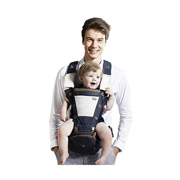 """FIFY baby carriers Baby strap waist stool breathable shoulder four-in-one baby waist stool multi-function aluminum stool core hold baby waist stool C08 denim blue FIFY Offer three carrier method: outward-facing, inward-facing and back carrying; product care: machine wash, warm (40 degrees). wash separately with a gentle, bleach-free detergent Age: from 3 months-14 months (at least 3.6 kg -9.1 kg) COMFORTABLE & ERGONOMIC AS BABY GROWS: Easy to adjust bucket seat supports your baby in an ergonomic natural """"M"""" position in all carry positions from baby to toddler. 1"""