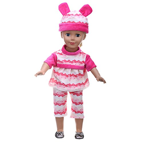 FUNDIY Handmade Pink Wavy Striped Daily Casual Clothes Costumes Outfits Top+Pant+Hat Set Fit for American Girl Doll 18 inch Doll Xmas Gift (Costume Ball Barbie)
