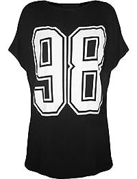 Nouveaux Femmes Grande Taille 98 Nombre Imprimer manches courtes Baseball Tee Tops 44-54