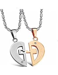 GirlZ! Silver Rose Gold Stainless Steel Titanium Two Heart Couple Pendant Necklace With Chains For Men & Women
