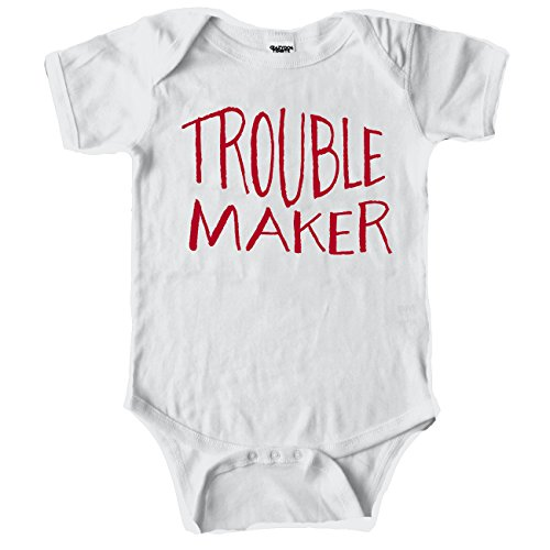 Crazy Dog Tshirts Trouble Maker Funny Mocking Baby Creeper Bodysuit For Infants (White) 12-18 Months - Baby-Jungen - 12-18 Months (Creeper Baby Infant)