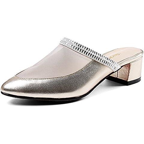 LYF KIU la grossa baotou pantofole moda e pantofole/sandali tacco medio e ciabatte/Chaton pelle maglia casuale pantofole