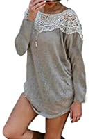 YYear Women's Crew Neck Long Sleeve Lace Patchwork Dress T-Shirt Top Blouse 1 XS