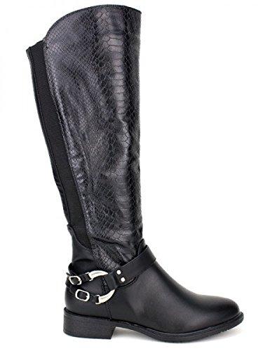 Cendriyon, Botte Noire ROCK'S HANSS Mode Chaussures Femme Noir