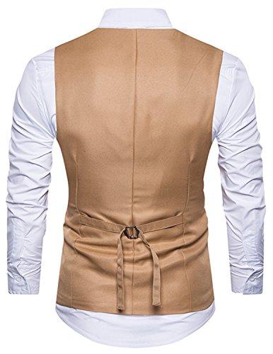 Boom Fashion Herren 4 Knopf Anzugweste Freizeit Business Casual Slim Fit Weste Einfarbig Mit V-Ausschnitt Stickerei Blazer Braun 1