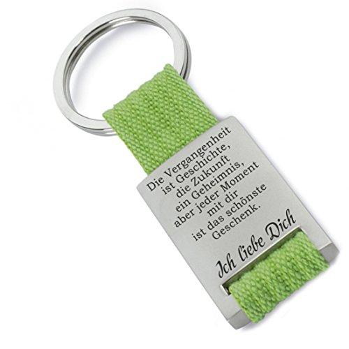 Lieblingsmensch Die Vergangenheit ist Geschichte - grün Schlüsselanhänger, 12 cm, Grün -