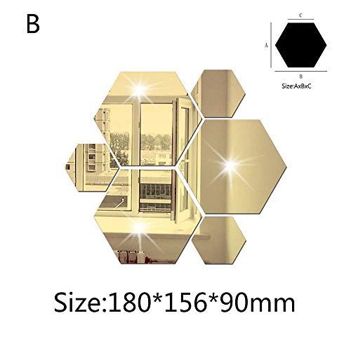 Wandaufkleber 7 Stücke 3D Spiegel Hexagon Vinyl Abnehmbare Gold Wandaufkleber Acryl Aufkleber Hauptdekorationen Decor Kunst DIY Tapete für wohnzimmer zimmer