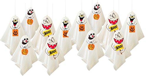 12 Lustige Gespenster Als Gruselige Halloween Deko - hängende Geister Party Dekoration für Innen & - Aufblasbare Halloween-geist