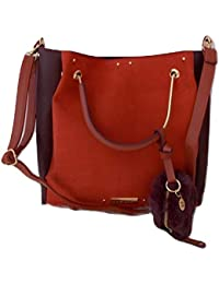 9a07bc27db River Island Ladies Rust Pouchette Slouch Bag With Faux Fur Purse
