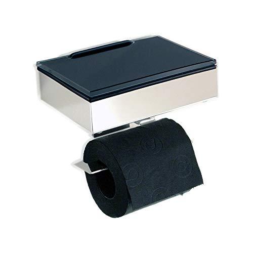 Feuchttücherbox/WC Rollenhalter Edelstahl - Glas schwarz - Kombination -Toilettenpapierhalter - Made in Germany