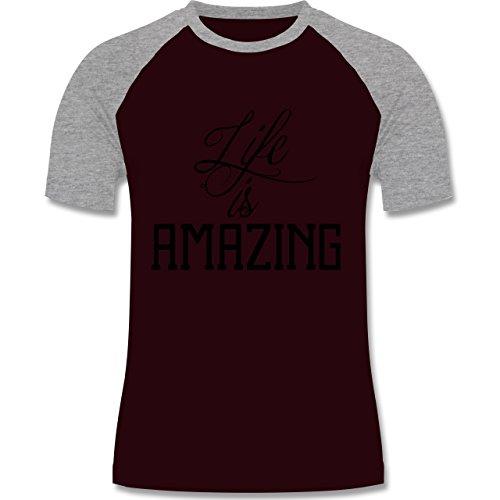 Statement Shirts - Life is amazing - zweifarbiges Baseballshirt für Männer Burgundrot/Grau meliert