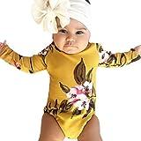 jerferr Softshell Overall Neugeborene Säuglingsblumenprinzessin Headhand Romper Bodysuit Kleidung