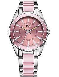 Reloj de Lujo con Cuarzo de Acero Inoxidable para Mujer-Correa de Cristal de Rosa