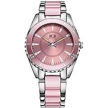 Reloj de Lujo con Cuarzo de Acero Inoxidable para Mujer-Correa de Cristal de Rosa y Analógico e Impermeable para Mujer