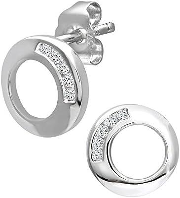 Naava  Boucles d'oreille - Pendientes de mujer de oro blanco (9k) con 10 diamantes