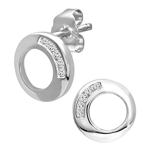 Naava Pendientes para Mujer de Oro Blanco 9K con 10 Diamantes