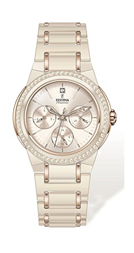 Festina Women's Quartz Watch with Beige Dial Analogue Display and Beige Ceramic Bracelet F16699/6