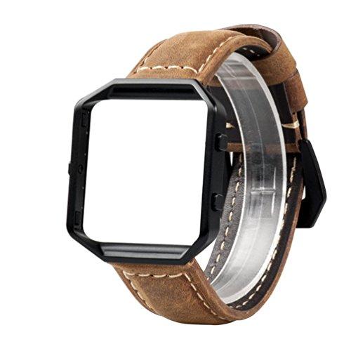 Für Fitbit Blaze Uralt Armband mit Metallrahmen, Wearlizer Bands Zubehör, Premium Wildleder Ersatzband mit schwarzem Metallrahmen und Gürtelschnalle für Fitbit Blaze Sonderausgabe Gun Metal - Braun Large