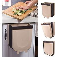 سلة مهملات معلقة للمطبخ - سلة مهملات توضع على منضدة المطبخ - صندوق قمامة صغيرة قابل للطي للخزانة / السيارة / غرفة النوم / الحمام