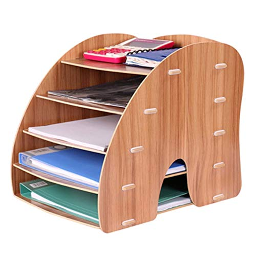 QYJpB Datei Brief Ablageschale Desktop Schrank Box Fall Abnehmbare Holzmaserung Design Schreibtisch Büro Organizer Rack Regal (Farbe : B) -
