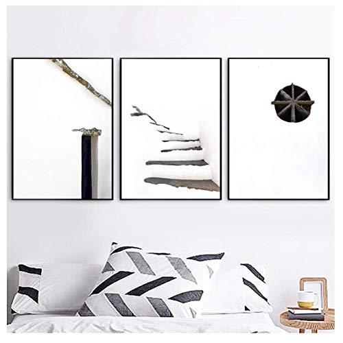 nr Moderne minimalistische neutrale Farben Architektur Kunst Malerei Wandbilder, Schneeszene Kunst Leinwand-40x60cmx3 Rahmenlos