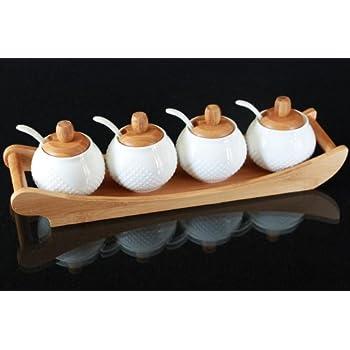 BESTONZON Keramik Gew/ürzdosen Set Porzellandosen Gew/ürzbeh/älter mit Deckel und Tablett f/ür die K/üche Zuhause