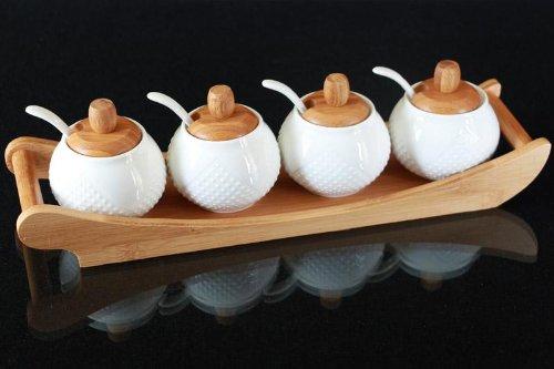 4er Bambus Porzellan Menageset Gewürz Set mit Löffel und Tablett Küchenhelfer