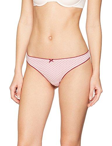 Iris & Lilly Damen String Cotton, 3er Pack, Mehrfarbig (Beet Red Strip/Beet Red/Beet Red Dot), Gr. X-Large (Bein Strip)