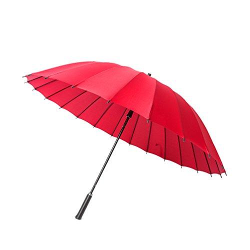 HuAma Langer Handgriffregenschirmmänner und -Frauen Verdoppeln Drei Geschäftsstudenten Super Windundurchlässige Verstärkung Übergroße Schattierung mit Zweifach Verwendbaren Sonneschirmen