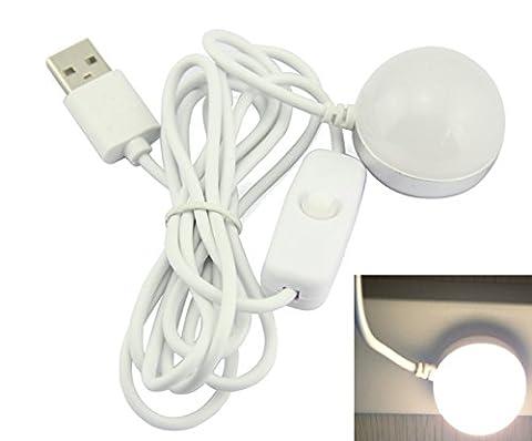 Mini 2W DC 5V USB magnétique ampoule LED Lumière de nuit avec interrupteur pour PC/clavier d'ordinateur portable léger, Cool white 2.0 watts