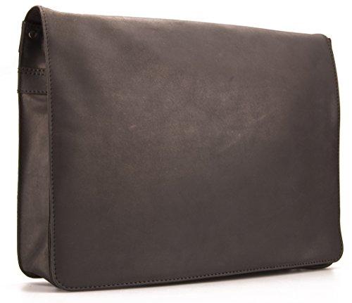 Visconti Hunter Sac à bandoulière format A4 en cuir vieilli finition huilée moka # 18548 Noir