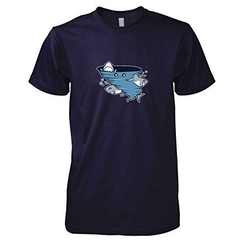 TEXLAB - Cute Shark Tornado - Herren T-Shirt, Größe L, (Kostüm Shark Fin)