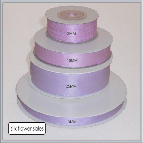 1 Rolle Doppelseitiges Geschenkband aus Satin, flieder erhältlich, 3 mm, 10 mm, 16 mm, Breite 25 mm, violett, 3mm x 50M (Ribbon Face Double Satin)