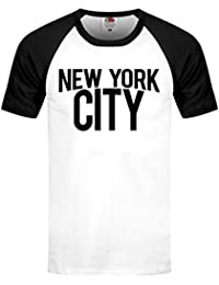 Grindstore Men's New York City Shortsleeve Baseball T-Shirt Black & White