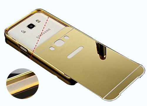 Samsung Galaxy J7 Luxury Metal Bumper + Acrylic Mirror Back Cover Case For Samsung Galaxy J7 (Golden) By First 4