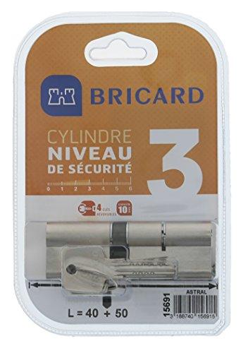 BRICARD Sichttasche Zylinder Astral 2, 9Messing vernickelt 10Kolben, 2Eingänge 40+ 50, Protektoren gegen den Bohren, und das Lockpicking. Karte Persönliche