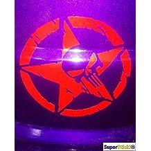 SUPERSTICKI Jeep Stern Totenkopf ca 40 cm Aufkleber Sticker Decal aus Hochleistungsfolie Aufkleber Autoaufkleber Tuningaufkleber Racingaufkleber Rennaufkleber Hochleistungsfolie f/ür alle g