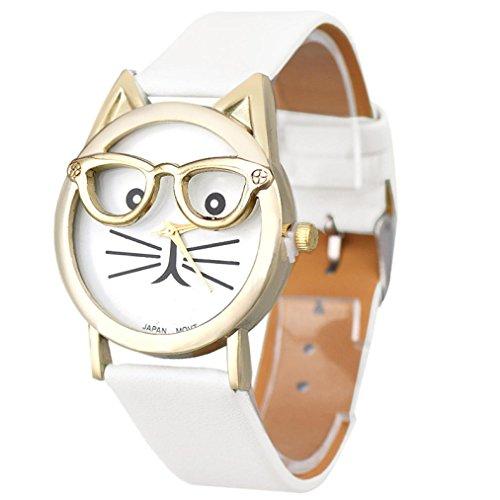 Relojes Pulsera Mujer,Xinan Lindo Vidrios Gato Análogo Cuarzo Dial (Blanco)