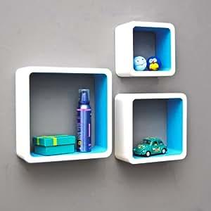 TS Ideen 5733 Set di 3 Mensole a Cubo da Parete, Stile Retró Design Anni '70, MDF, Bianco/Blu ...