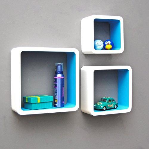 Ts ideen set of 3 lounge shelves cube retro 1970s white for Ts ideen