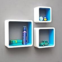TS Ideen 5733 Set di 3 Mensole a Cubo da Parete, Stile Retró Design Anni '70, MDF, Bianco/Blu