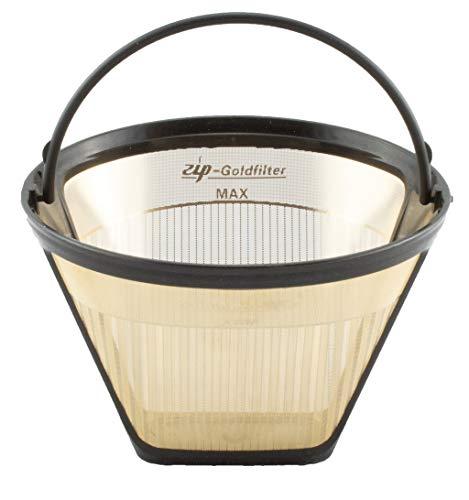 ZIP Premium | KF2 / GR2 Filtergröße 2 Goldfilter | Dauerfilter permanenter Kaffeefilter | BPA frei & spülmaschinengeeignet | 23 Karat Goldbeschichtung | Größe 2-6 Tassen | Nickelfrei
