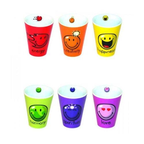 Incidence Paris 27882 Mug Expresso Imprimé Happy Colors Porcelaine Multicolore 6 x 6 x 6,4 cm 6 Pièces